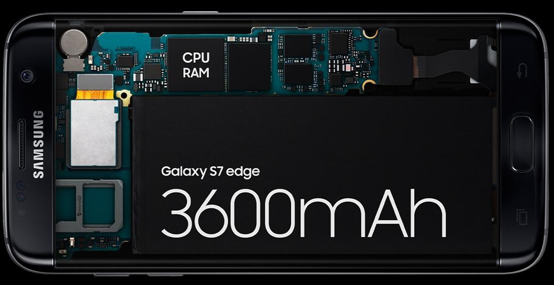 Obrovská výdrž na baterii díky 3600 mAh baterii SAmsung Galaxy S7 Edge