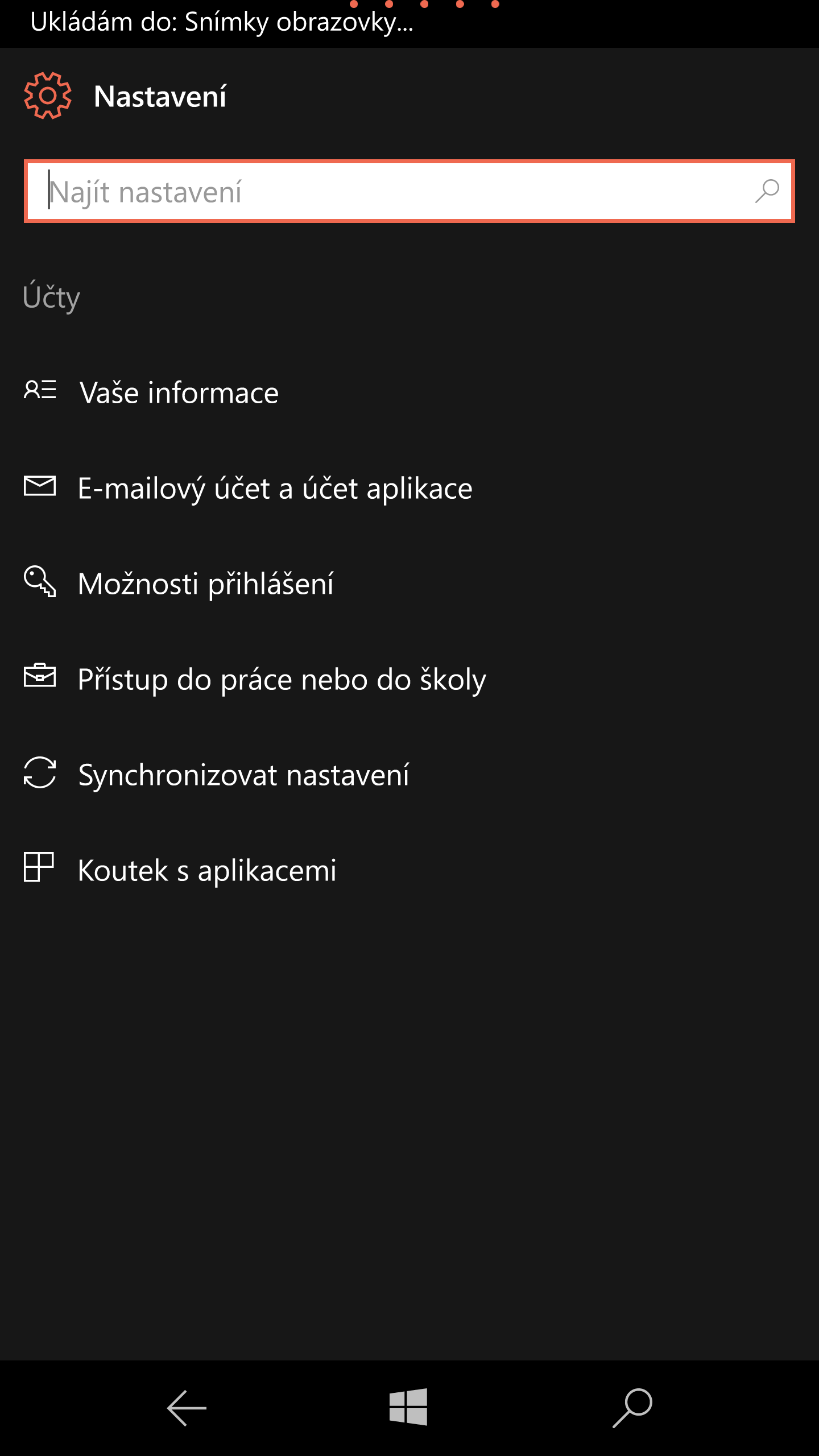 Nastavení účtů Windows 10 Mobile