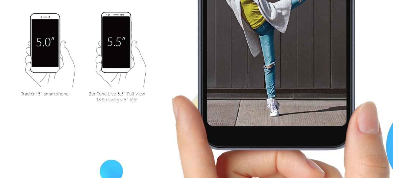 """V malém těle ASUS Zenfone Live L1 se ukrývá obrovský 5.5"""" displej s tenkými rámečky kolem něj"""