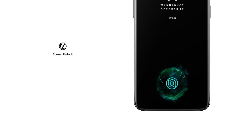 Odemykání rychlé jako blesk, nově však integrované do displeje, OnePlus 6T nabídne čtečku otisků prstů v displeji
