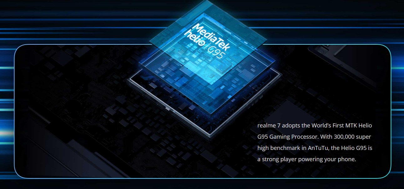 Vysoký výkon zajistí moderní čip Mediatek G95, který pohání Realme 7