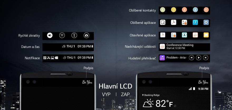 Sekundární displej mobilního telefonu LG V10 nabízí nový rozměr pro ovládání a sledování notifikací.