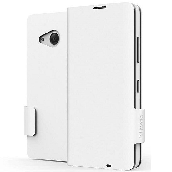 Pouzdro MOZO Flip Cover Classic Microsoft Lumia 550 bílé