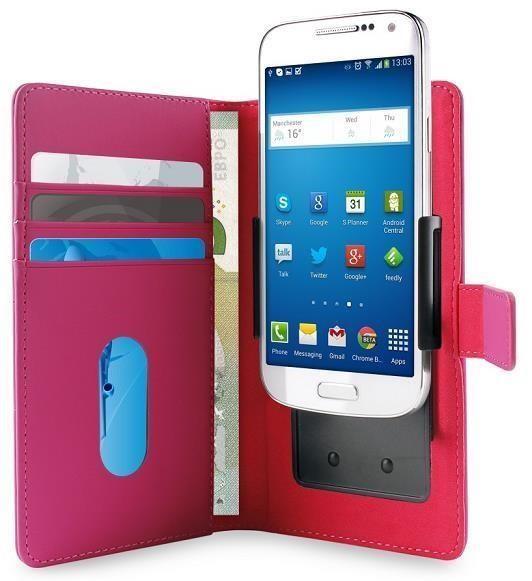 """Pouzdro Puro Flipové univerzální/nastavitelné s přihrádkou na karty pro telefony do 5,1"""" (XL) růžové"""