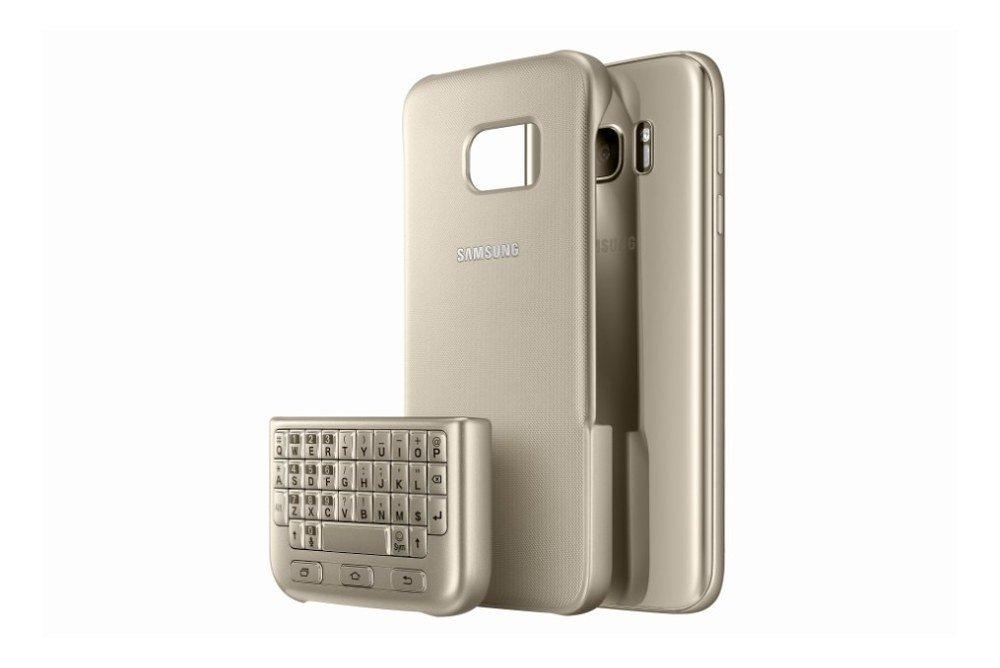 Pouzdro Samsung EJ-CG930UFE s QWERTY klávesnicí pro Samsung Galaxy S7 zlaté