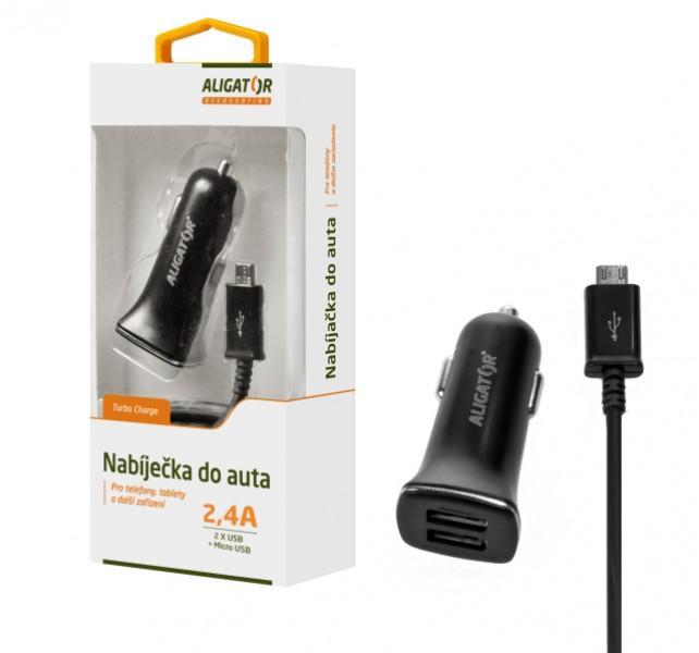 Nabíječka do auta ALIGATOR s USB-C (TYPE-C) kabelem a 2xUSB výstupem 2,4A, Turbo charge, černá