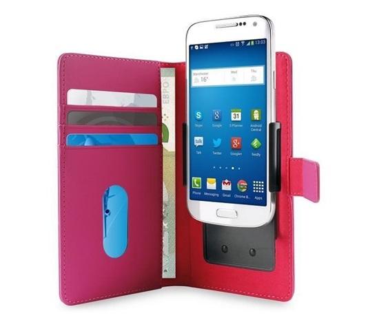 """Pouzdro Puro Flipové univerzální/nastavitelné s přihrádkou na karty pro telefony do 4,7"""" (L) růžové"""