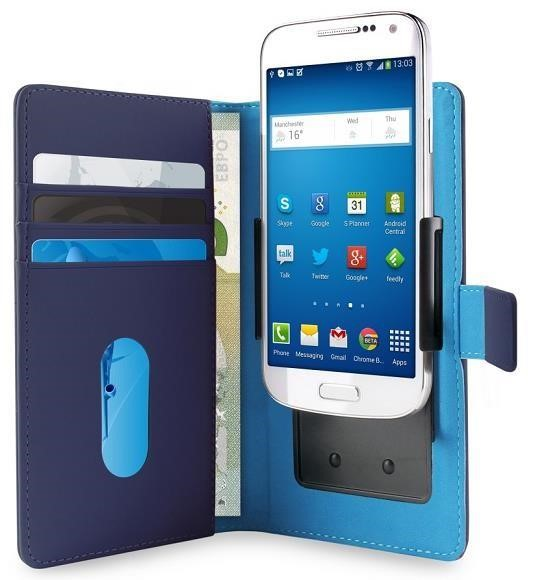 """Pouzdro Puro Flipové univerzální/nastavitelné s přihrádkou na karty pro telefony do 4,7"""" (L) modré"""