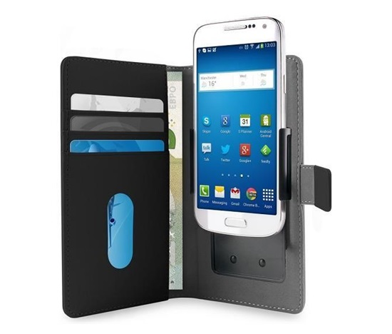 """Pouzdro Puro Flipové univerzální/nastavitelné s přihrádkou na karty pro telefony do 4,7"""" (L) černé"""