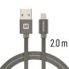 Datový kabel Swissten Textile Lightning 2.0m šedý