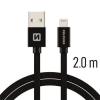 Datový kabel Swissten Textile Lightning 2.0m černý