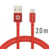 Datový kabel Swissten Textile USB-C 2.0m červený