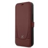 MEFLBKP12MARMRE Mercedes Perforated Leather Book Pouzdro pro iPhone 12/12 Pro 6.1 Red
