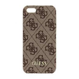 Pouzdro Guess 4G UpTow Hard Zadní Kryt pro Apple iPhone 5/5S/SE hnědý