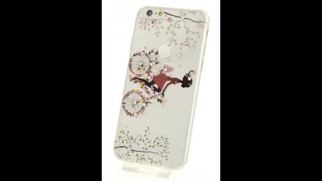 Silikonové pouzdro pro iPhone 6 a iPhone 6S motivem květinového jízdního kola