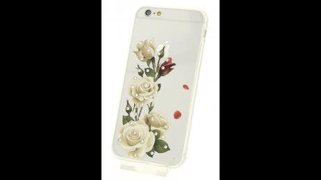 Silikonové pouzdro pro iPhone 6 a iPhone 6S s motivem bílé růže
