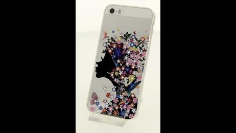 Silikonové pouzdro s motivem květinové dámy pro iPhone 5/5S/SE