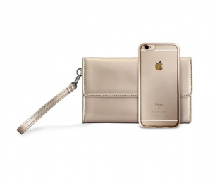 Pouzdro Puro METAL DUO + psaníčko iPhone 7 zlaté