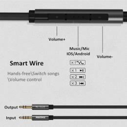 Remax S120 Smart Audio kabel 3.5 mm samec/samec + ovládání a mikrofon