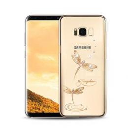 Pouzdro Made by Swarovski Crystal Dragonfly pro Samsung Galaxy S8 G950F zlaté
