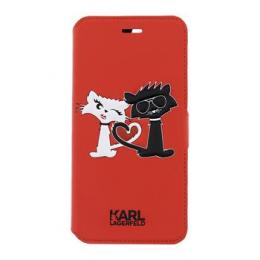 Pouzdro Karl Lagerfeld Choupette in Love Book pro Apple iPhone 7 Plus červené