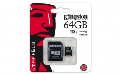 Kingston microSDXC 64GB UHS-I U1 + adaptér SDC10G2/64GB