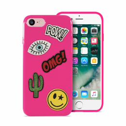 Pouzdro Puro Patch Mania zadní kryt pro Apple iPhone 6/6S/7 růžové