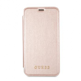 Pouzdro Guess Iridescent Book pro Apple iPhone X (GUFLBKPXIGLTRG) růžové zlato