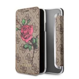 Pouzdro Guess Flower Desire Book pro Apple iPhone X (GUFLBKPX4GROB) hnědé