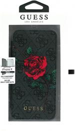 Pouzdro Guess Flower Desire Book pro Apple iPhone X (GUFLBKPX4GROG) šedá