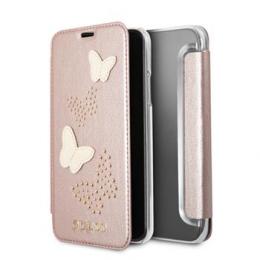 Pouzdro Guess Studs and Sparkle Book pro Apple iPhone X (GUFLBKPXPBURG) růžové zlato