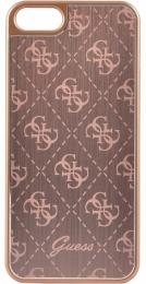 Pouzdro Guess 4G Aluminium iPhone 5/5S/SE růžové