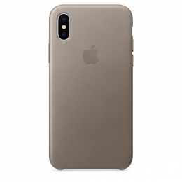 Pouzdro Apple Leather Case pro Apple iPhone X - MQT92ZM/A Taupe