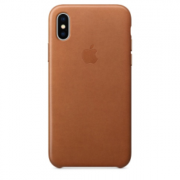 Pouzdro Apple Leather Case pro Apple iPhone X/Xs Saddle Brown
