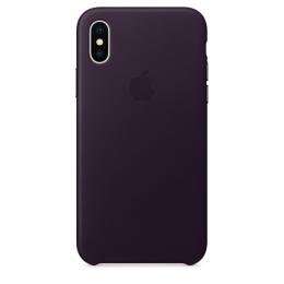 Pouzdro Apple Leather Case pro Apple iPhone X - MQTG2ZM/A Dark Aubergine