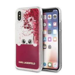 Pouzdro Karl Lagerfeld (KLHCPXPABGFU) Peek a Boo Liquid Glitter pro Apple iPhone X fialové