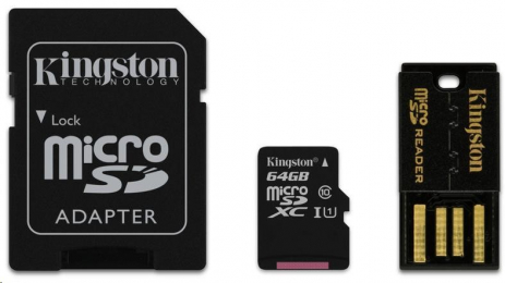 Kingston 64GB Mobility Kit G2 class 10 microSDXC + adaptér + čtečka MBLY10G2/64GB
