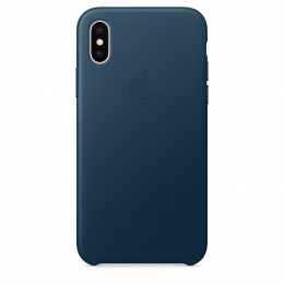Pouzdro Apple Leather Case pro Apple iPhone X - MQTH2ZM/A Cosmos Blue
