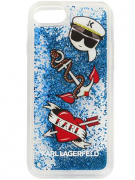 Pouzdro Karl Lagerfeld (KLHCI8KSG) Captain Karl Liquid Glitter Pouzdro pro Apple iPhone 7/8 Blue