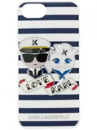 Pouzdro Karl Lagerfeld Sailors Tripes TPU zadní kryt pro Apple iPhone 7/8 Plus