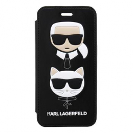 Pouzdro Karl Lagerfeld (KLFLBKI8KICKC) Karl and Choupette Book Black pro Apple iPhone 7/8