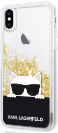 Pouzdro Karl Lagerfeld Choupette Sunglass Liquid Glitter Gold pro Apple iPhone X