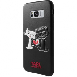 Pouzdro Karl Lagerfeld Karl and Choupette Hard Case Black pro Samsung Galaxy S8 Plus