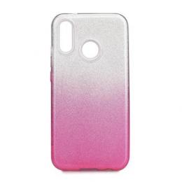 Pouzdro Forcell silikonové pro Huawei P20 Lite transparentní s růžovou