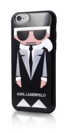 Pouzdro Karl Lagerfeld (KLHCP6KKORO) Karl and Choupette TPU Case pro Apple iPhone 6/6S Black