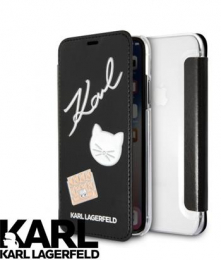 Pouzdro Karl Lagerfeld Pins Book Black pro Apple iPhone X