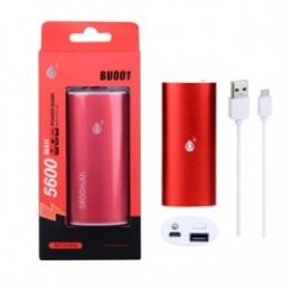 Powerbanka PLUS BU001 s kapacitou 5600 mAh a svítilnou červená