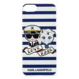 Pouzdro Karl Lagerfeld (KLHCI8KSS) Sailors Tripes TPU zadní kryt pro Apple iPhone 7/8 Black