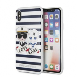 Pouzdro Karl Lagerfeld (KLHCPXKSS) Sailors Tripes TPU pro Apple iPhone X Blue