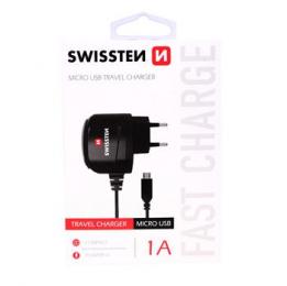 Swissten nabíječka do sítě s MicroUSB kabelem 1A černá